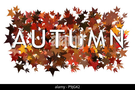 Autumn text, word wrapped in and layered with autumnal leaves. Isolated on white background. - Stock Photo