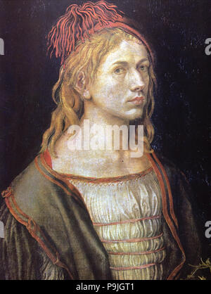 Self-Portrait with castor oil flower' Albrecht Durer (1471-1528, German Painter and engraver. - Stock Photo