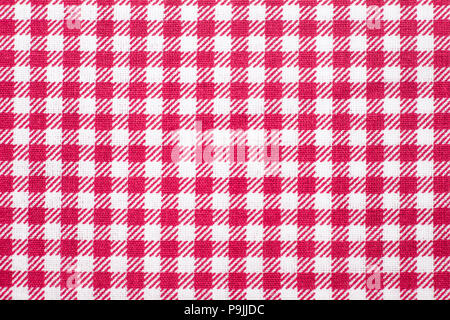Tablecloth checkered red and white texture background, Napkin in - Stock Photo