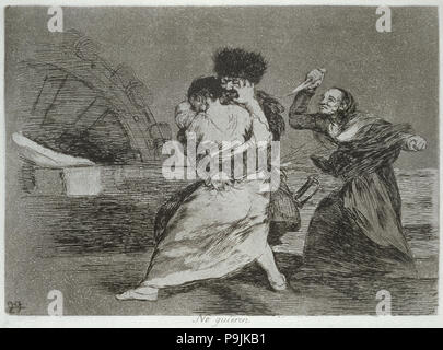 The Disasters of War, a series of etchings by Francisco de Goya (1746-1828), plate 9: 'No quieren… - Stock Photo