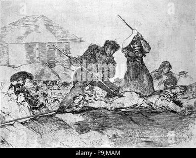 The Disasters of War, a series of etchings by Francisco de Goya (1746-1828), plate 28: 'Populacho… - Stock Photo
