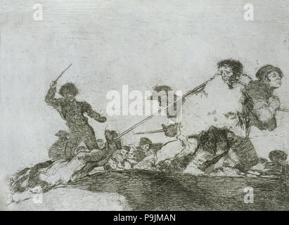 The Disasters of War, a series of etchings by Francisco de Goya (1746-1828), plate 29: 'Lo merecí… - Stock Photo