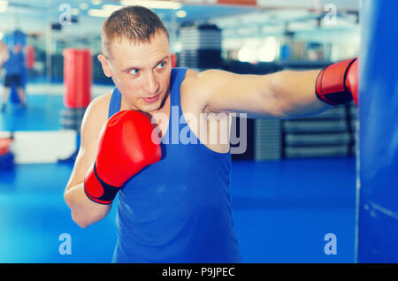Adult active male is training with punching bag in box gym - Stock Photo