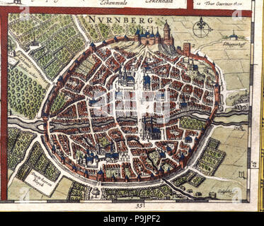 Nuremberg, colored engraving from the book 'Le Theatre du monde' or 'Nouvel Atlas', 1645, created… - Stock Photo