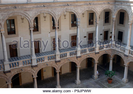 Loggia of the Maqueda courtyard at Normans palace in Palermo, Italy - Stock Photo