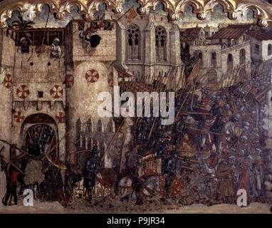 Fight and entry of the troops of James I by the painted door of Medina Myurka (1229), table in the predella of the 'Altarpiece of St George', from the - Stock Photo