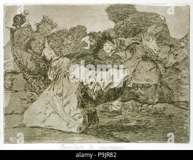 The Disasters of War, a series of etchings by Francisco de Goya (1746-1828), plate 75: 'Farándula… - Stock Photo