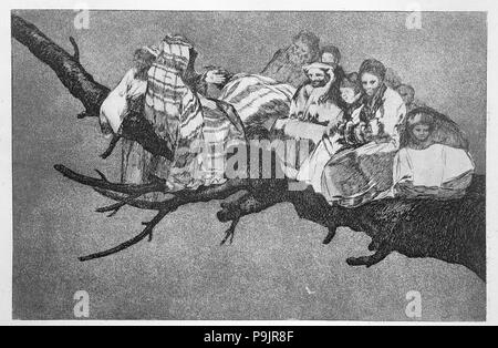 The Proverbs or The Follies, series of etchings by Francisco de Goya, plate 3: 'Extraña locura' (… - Stock Photo