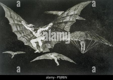 The Proverbs or The Follies, series of etchings by Francisco de Goya, plate 13: 'Modo de volar' (… - Stock Photo