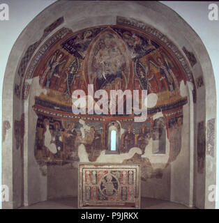 Apse of the church of Santa Eulalia de Estaon, in Pallars Subirá. - Stock Photo