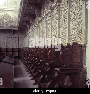 Detail of the ashlar work of the choir in the church of the Cartuja of Granada. - Stock Photo
