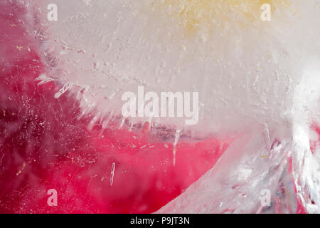 texture of ice created by air bubbles and cracks background - Stock Photo