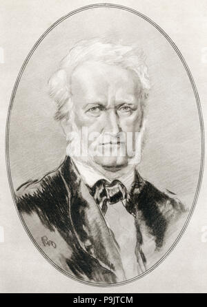 Wilhelm Richard Wagner, 1813 – 1883.  German composer, theatre director, polemicist, and conductor.   Illustration by Gordon Ross, American artist and illustrator (1873-1946), from Living Biographies of Great Composers.