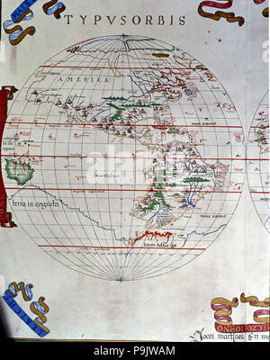 Atlas of Joan Martines, Messina, 1582. Portulan chart of the Americas. - Stock Photo