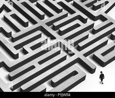 Businessman walking toward to huge concrete maze - Stock Photo
