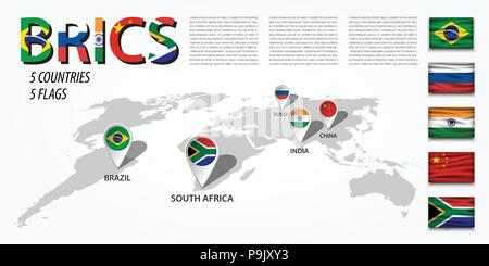 BRICS . association of 5 countries ( brazil . russia . india . china . south africa ) . Perspective world map and GPS navigator location pin with nati - Stock Photo