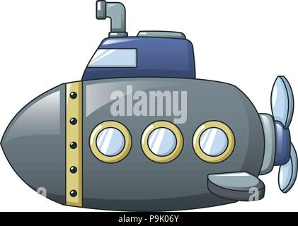 Grey submarine icon, cartoon style - Stock Photo