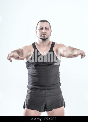 portrait - the trainer on bodybuilding on a white background. - Stock Photo