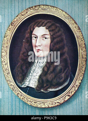 Anthony Ashley Cooper, 1st Earl of Shaftesbury, PC, 22 July 1621 – 21 January 1683, known as Anthony Ashley Cooper from 1621 to 1630, as Sir Anthony Ashley Cooper, 2nd Baronet from 1630 to 1661, and as The Lord Ashley from 1661 to 1672, was a prominent English politician during the Interregnum and during the reign of King Charles II, digital improved reproduction of an original print from the year 1900 - Stock Photo