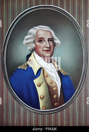 George Washington, February 22, 1732 – December 14, 1799, was an American soldier, farmer, land investor, politician, and statesman who served from 1789 to 1797 as the first President of the United States, and became known as the Father of His Country, digital improved reproduction of an original print from the year 1900 - Stock Photo