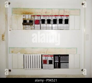 Old Greek Fuse box - Stock Photo
