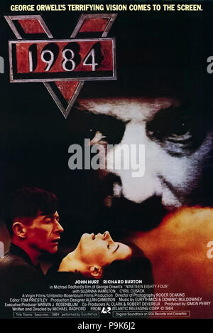 1984 (1984)( Nineteen Eighty-Four) directed by Michael Radford and starring John Hurt, Richard Burton, Suzanna Hamilton and Cyril Cusack. George Orwell's prescient dystopian novel gets a worthy big screen adaptation. - Stock Photo