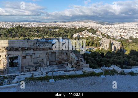 Monumental gateway Propylaea in the Acropolis of Athens, Attica, Greece - Stock Photo