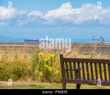 Wooden bench with view of sea, Aberlady Bay, East Lothian, Scotland, UK on sunny Summer day with blurred tanker ship on horizon in Firth of Forth - Stock Photo