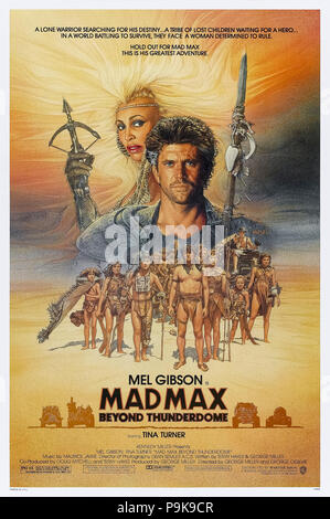 Mad Max Beyond Thunderdome (1985) directed by George Miller and George Ogilvie and starring Mel Gibson, Tina Turner, Bruce Spence and Angelo Rossitto. Mad Max returns to face Aunty Entity and her Bartertown in post apocalyptic Australia. - Stock Photo