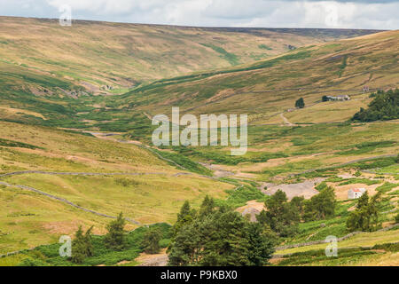 North Pennines AONB Landscape, the Hudes Hope Valley near Middleton in Teesdale, UK - Stock Photo