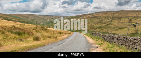 North Pennines AONB panoramic landscape, the Hudes Hope Valley, Teesdale, UK - Stock Photo