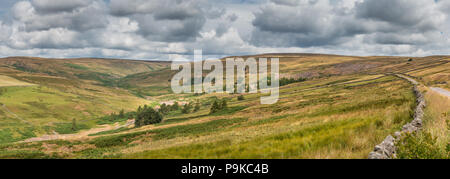 North Pennines AONB panoramic landscape, the Hudes Hope Valley, Coldberry and Lodge Syke lead mine remains, Teesdale, UK - Stock Photo