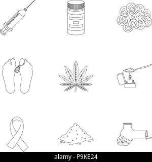 Drugs set icons in outline style. Big collection of drugs vector symbol stock - Stock Photo