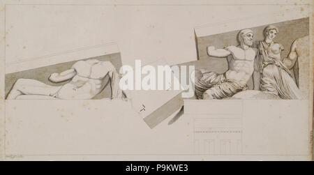 311 The Parthenon- Sculptures from the east pediment - Stuart James & Revett Nicholas - 1787 - Stock Photo