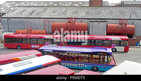 Warringtons Own Buses, main depot,  Wilderspool Causeway, Cheshire, North West England, UK - Stock Photo