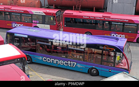 Warringtons Own Buses, main depot, Connect17 bus,  Wilderspool Causeway, Cheshire, North West England, UK - Stock Photo