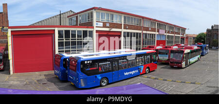 Warringtons Own Buses, main depot pano,  Wilderspool Causeway, Cheshire, North West England, UK - Stock Photo
