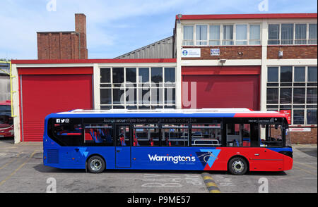 Warringtons Own Buses, main depot with bus outside,  Wilderspool Causeway, Cheshire, North West England, UK - Stock Photo