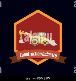 emblem of Construction industry design with excavator truck  icon over black background, colorful design. vector illustration - Stock Photo