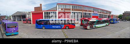 Warringtons Own Buses, main depot panorama,  Wilderspool Causeway, Cheshire, North West England, UK - Stock Photo