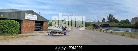 Warrington Rowing Club pano, Low Tide Mersey River, Summer 2018, cheshire, North West England, UK - Stock Photo