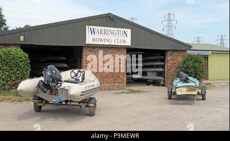 Warrington Rowing Club, Low Tide Mersey River, Summer 2018, cheshire, North West England, UK - Stock Photo