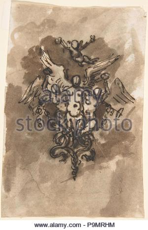 Drawing for a Vignette of Fame (recto); Cropped Drawing of Horse's Leg (verso), 18th century, Pen and brown ink, brush and brown wash, over traces of graphite or lead, on light cream laid paper, 4-9/16 x 3-1/16 in. (11.6 x 7.8 cm), Drawings, Anonymous, Italian, first half of the 18th century. - Stock Photo