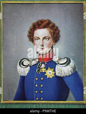 Frederick William IV, Friedrich Wilhelm IV., 15 October 1795 – 2 January 1861, the eldest son and successor of Frederick William III of Prussia, reigned as King of Prussia from 1840 to 1861, digital improved reproduction of an original print from the year 1900 - Stock Photo