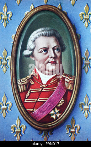 Louis XVIII, Louis Stanislas Xavier, 17 November 1755 – 16 September 1824, known as the Desired, le Désiré, was a monarch of the House of Bourbon who ruled as King of France from 1814 to 1824,, digital improved reproduction of an original print from the year 1900 - Stock Photo