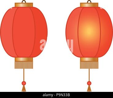 Red Chinese traditional paper lantern with light inside, fairy lights, asian lamps, vector illustration - Stock Photo