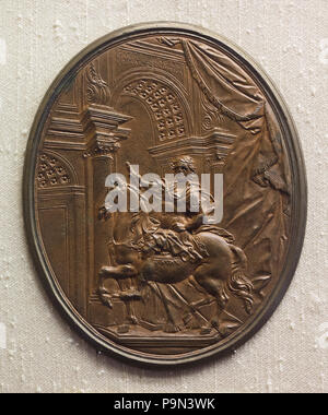Triumph of Charlemagne. Bronze plaque (1725) on display in the Bargello Museum (Museo Nazionale del Bargello) in Florence, Tuscany, Italy. - Stock Photo