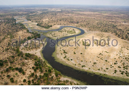 Winding water channels of the Okavango Delta. - Stock Photo
