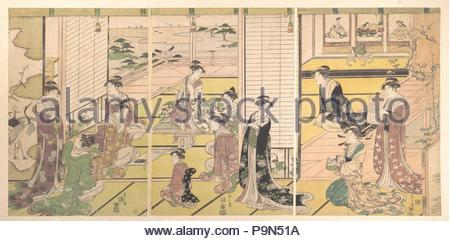 ?????, Honoring the Three Gods of Poetry: Women Composing Poems, Edo period (1615–1868), ca. 1792, Japan, Triptych of polychrome woodblock prints; ink and color on paper, H. 14 1/2 in. (36.8 cm); W. 30 in. (76.2 cm), Prints, Chobunsai Eishi (Japanese, 1756–1829), A group of ladies in elegant kimono and their attendants compose poetry at a New Year's poetry gathering. In the alcove of the leftmost print are imaginary portraits of the Three Gods of Japanese Poetry (Waka sanjin), namely Sumiyoshi, Tamatsushima, and Kakinomoto no Hitomaro. - Stock Photo
