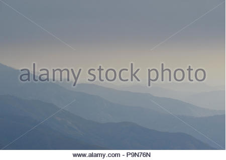 A view over Sequoia National Park from Moro Rock. - Stock Photo